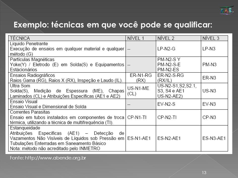 Exemplo: técnicas em que você pode se qualificar: Fonte: http://www.abende.org.br 13