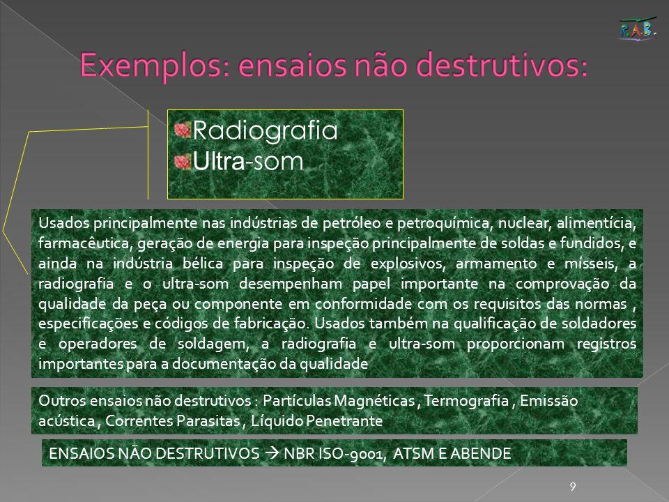 9 Radiografia Ultra -som Usados principalmente nas indústrias de petróleo e petroquímica, nuclear, alimentícia, farmacêutica, geração de energia para