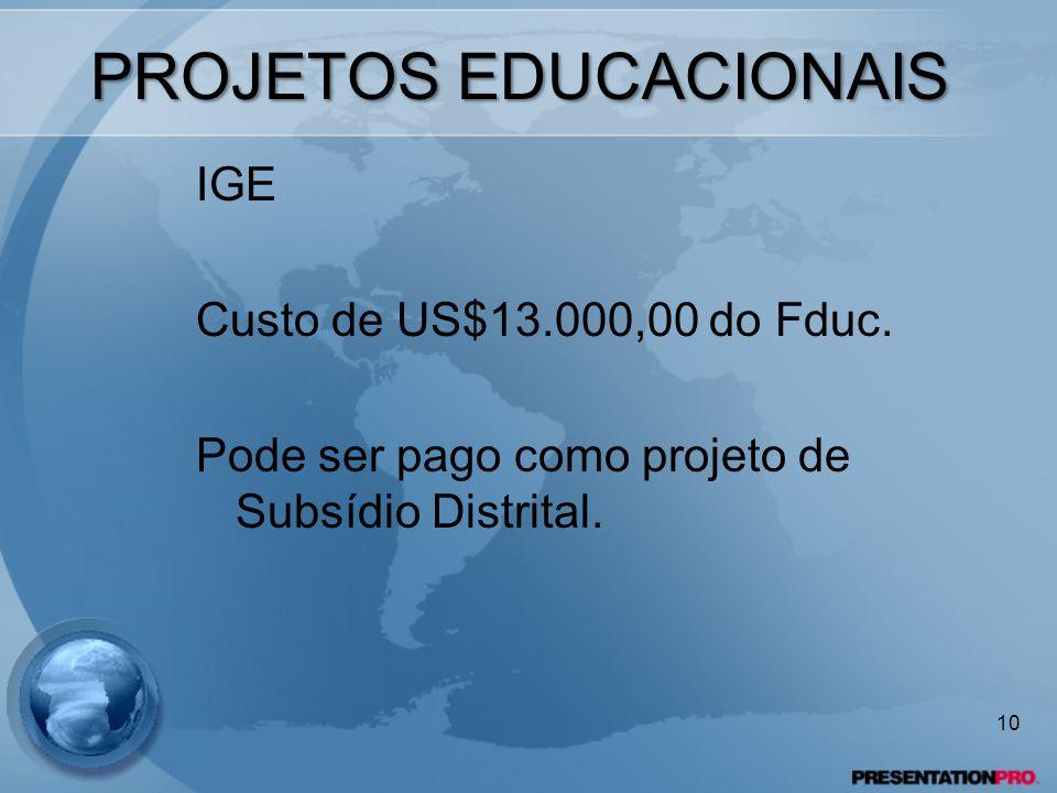 PROJETOS EDUCACIONAIS IGE Custo de US$13.000,00 do Fduc. Pode ser pago como projeto de Subsídio Distrital. 10
