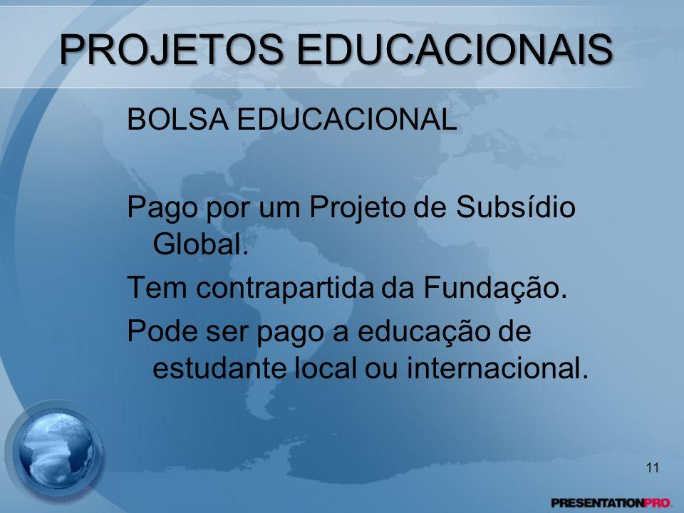 PROJETOS EDUCACIONAIS BOLSA EDUCACIONAL Pago por um Projeto de Subsídio Global. Tem contrapartida da Fundação. Pode ser pago a educação de estudante l