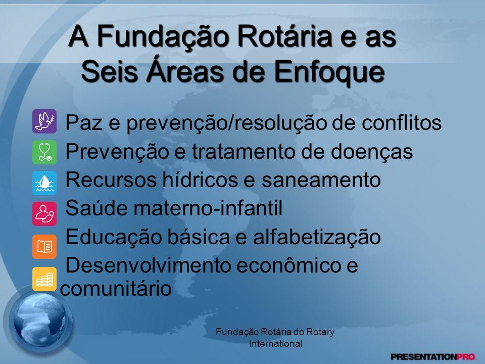 Fundação Rotária do Rotary International A Fundação Rotária e as Seis Áreas de Enfoque Paz e prevenção/resolução de conflitos Prevenção e tratamento d