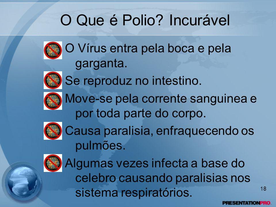O Que é Polio? Incurável O Vírus entra pela boca e pela garganta. Se reproduz no intestino. Move-se pela corrente sanguinea e por toda parte do corpo.