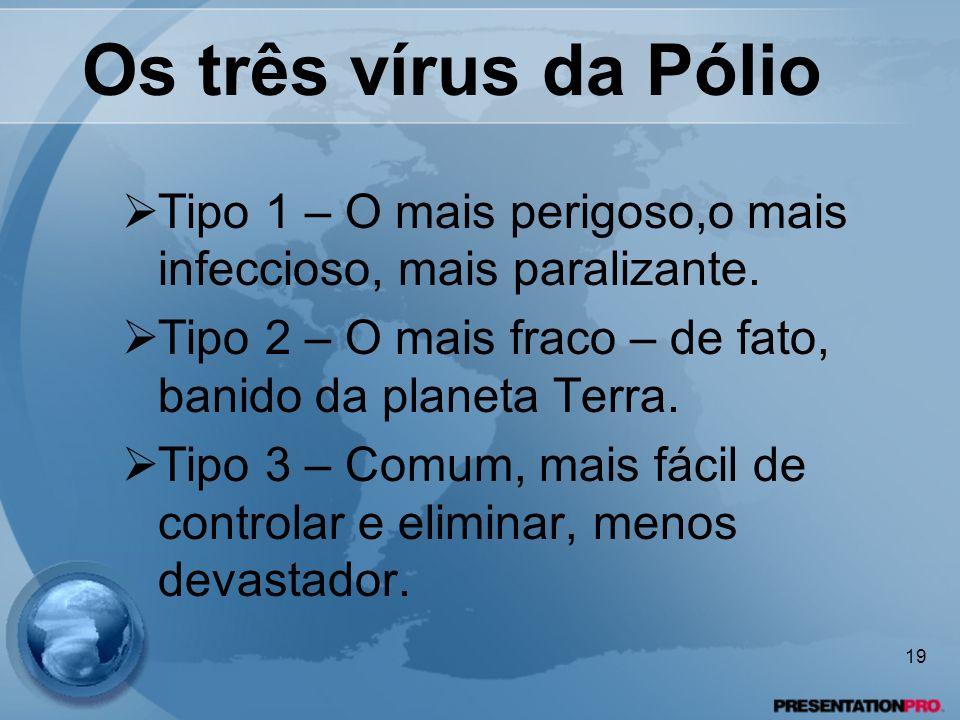 Os três vírus da Pólio Tipo 1 – O mais perigoso,o mais infeccioso, mais paralizante. Tipo 2 – O mais fraco – de fato, banido da planeta Terra. Tipo 3