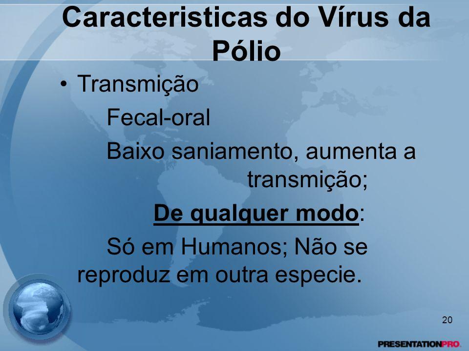 Caracteristicas do Vírus da Pólio Transmição Fecal-oral Baixo saniamento, aumenta a transmição; De qualquer modo: Só em Humanos; Não se reproduz em ou