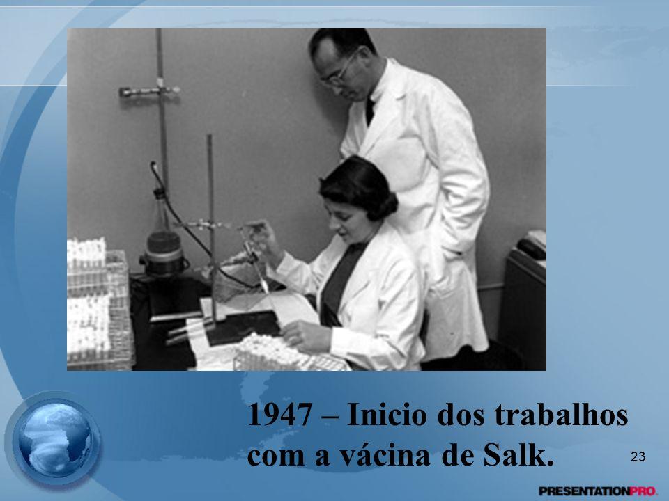 1947 – Inicio dos trabalhos com a vácina de Salk. 23