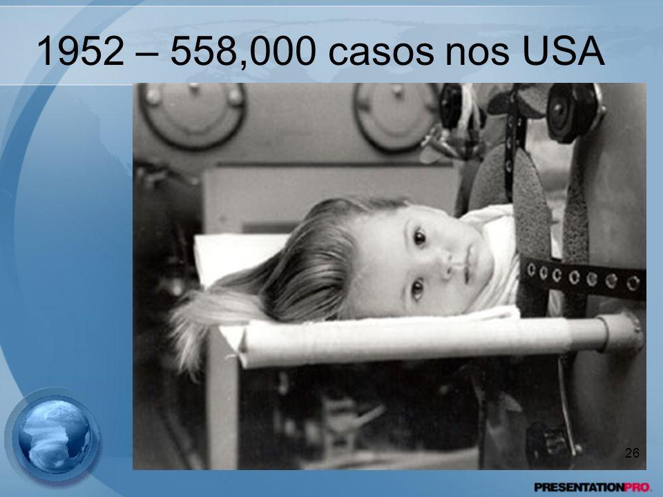1952 – 558,000 casos nos USA 26