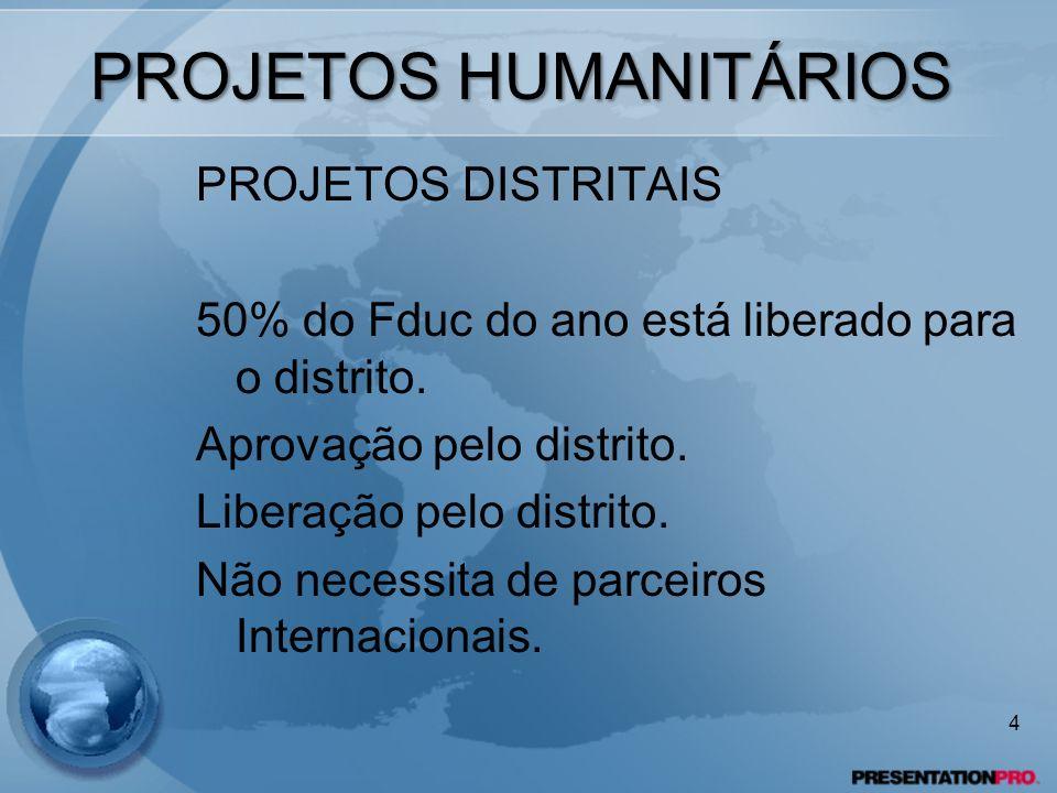 PROJETOS HUMANITÁRIOS PROJETOS DISTRITAIS 50% do Fduc do ano está liberado para o distrito. Aprovação pelo distrito. Liberação pelo distrito. Não nece