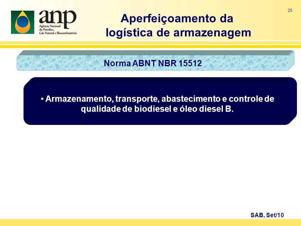25 Armazenamento, transporte, abastecimento e controle de qualidade de biodiesel e óleo diesel B. Aperfeiçoamento da logística de armazenagem SAB, Set