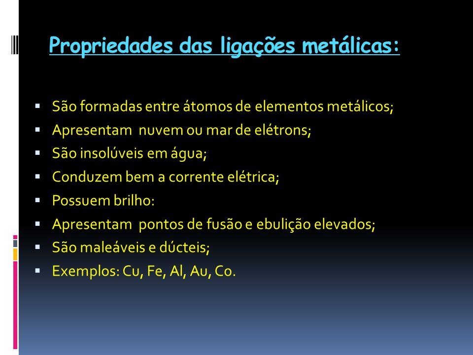 Propriedades das ligações metálicas: São formadas entre átomos de elementos metálicos; Apresentam nuvem ou mar de elétrons; São insolúveis em água; Co