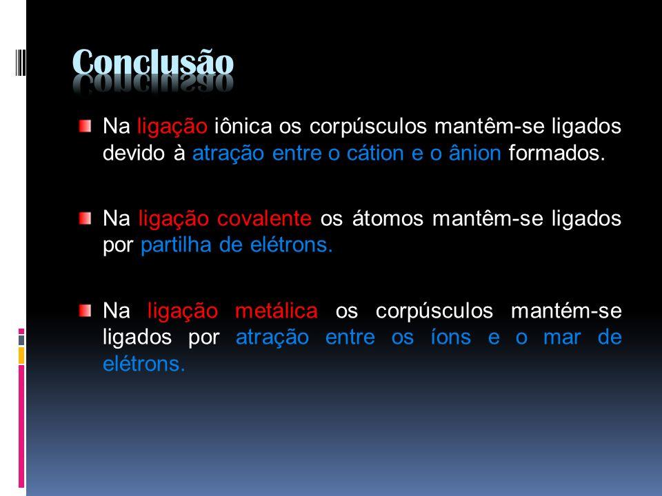 Na ligação iônica os corpúsculos mantêm-se ligados devido à atração entre o cátion e o ânion formados. Na ligação covalente os átomos mantêm-se ligado