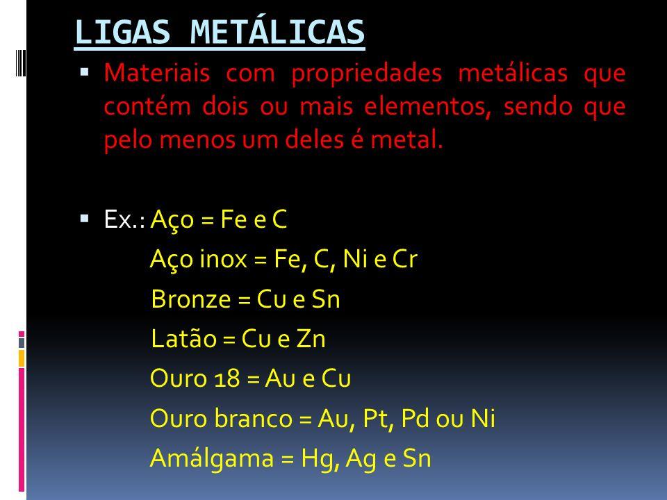 LIGAS METÁLICAS Materiais com propriedades metálicas que contém dois ou mais elementos, sendo que pelo menos um deles é metal. Ex.: Aço = Fe e C Aço i