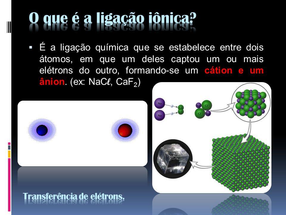 É a ligação química que se estabelece entre dois átomos, em que um deles captou um ou mais elétrons do outro, formando-se um cátion e um ânion. (ex: N