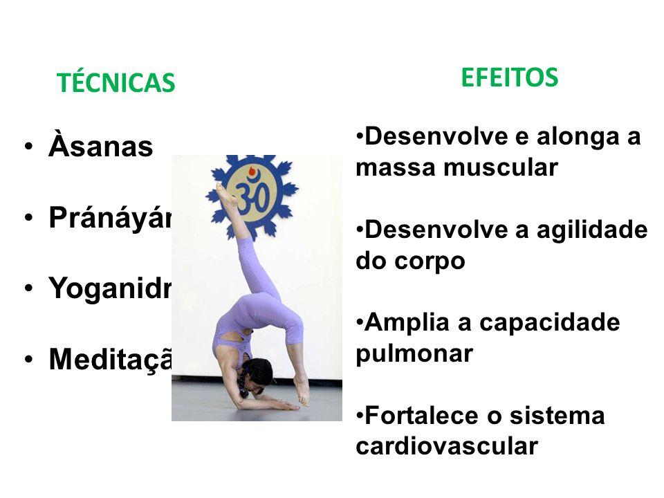 Àsanas Pránáyáma Yoganidra Meditação Desenvolve e alonga a massa muscular Desenvolve a agilidade do corpo Amplia a capacidade pulmonar Fortalece o sis
