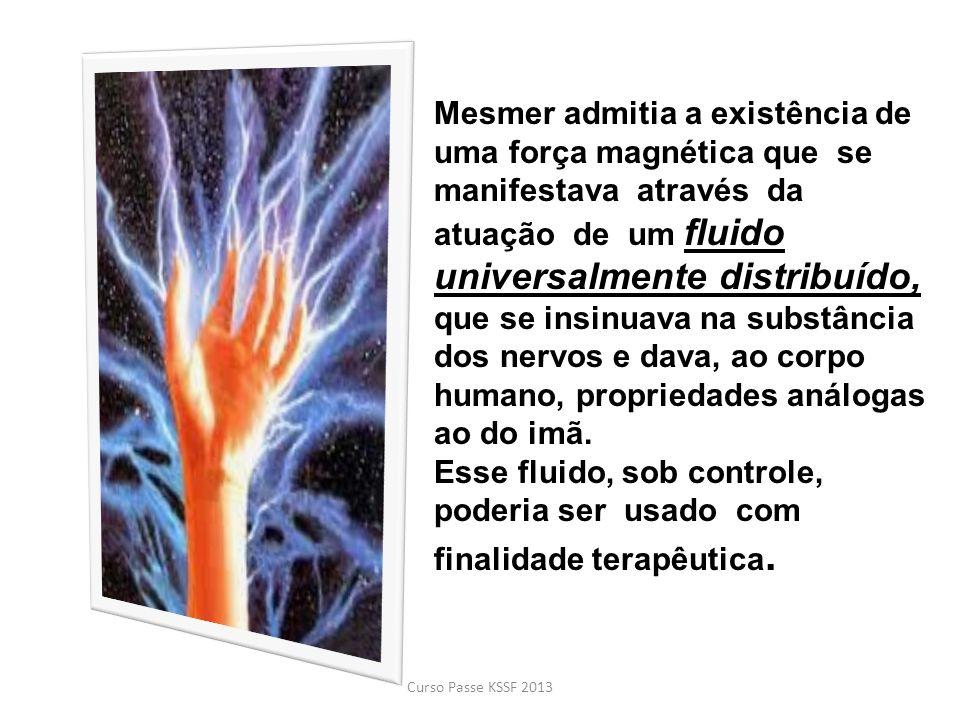 Mesmer admitia a existência de uma força magnética que se manifestava através da atuação de um fluido universalmente distribuído, que se insinuava na