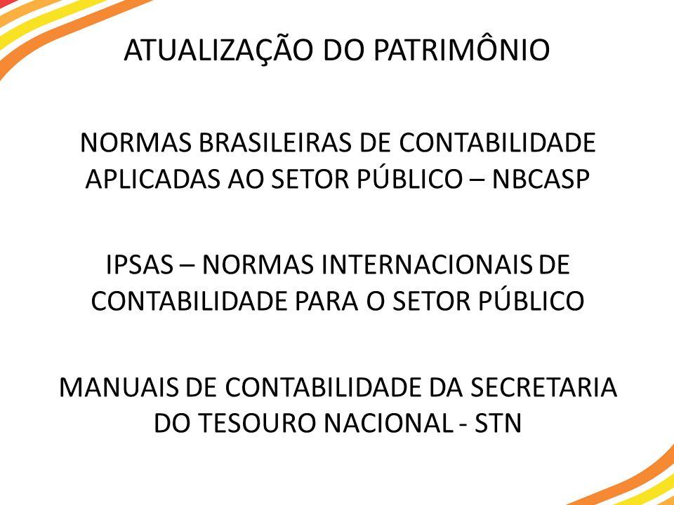 NORMAS BRASILEIRAS DE CONTABILIDADE APLICADAS AO SETOR PÚBLICO – NBCASP IPSAS – NORMAS INTERNACIONAIS DE CONTABILIDADE PARA O SETOR PÚBLICO MANUAIS DE