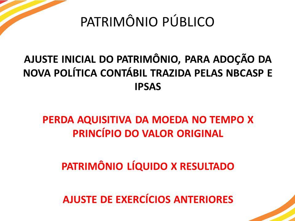 AJUSTE INICIAL DO PATRIMÔNIO, PARA ADOÇÃO DA NOVA POLÍTICA CONTÁBIL TRAZIDA PELAS NBCASP E IPSAS PERDA AQUISITIVA DA MOEDA NO TEMPO X PRINCÍPIO DO VAL