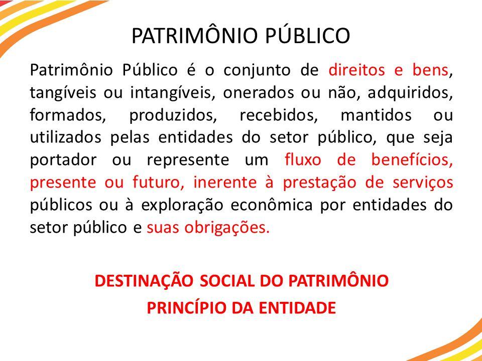 Patrimônio Público é o conjunto de direitos e bens, tangíveis ou intangíveis, onerados ou não, adquiridos, formados, produzidos, recebidos, mantidos o
