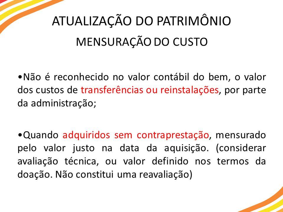 MENSURAÇÃO DO CUSTO Não é reconhecido no valor contábil do bem, o valor dos custos de transferências ou reinstalações, por parte da administração; Qua