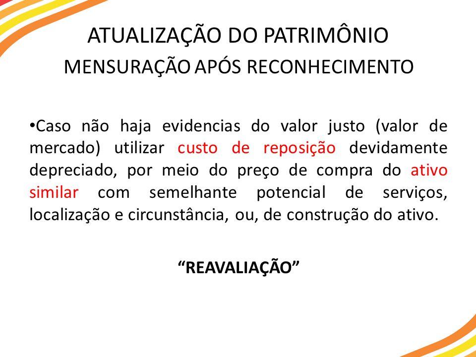 MENSURAÇÃO APÓS RECONHECIMENTO Caso não haja evidencias do valor justo (valor de mercado) utilizar custo de reposição devidamente depreciado, por meio