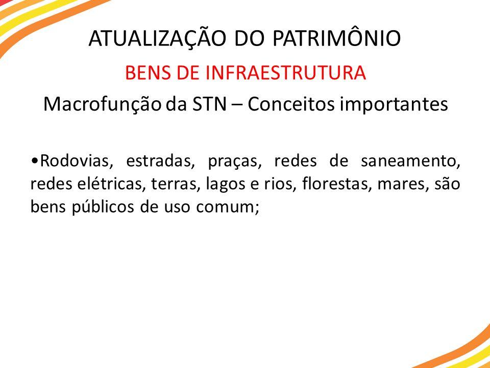 BENS DE INFRAESTRUTURA Macrofunção da STN – Conceitos importantes Rodovias, estradas, praças, redes de saneamento, redes elétricas, terras, lagos e ri