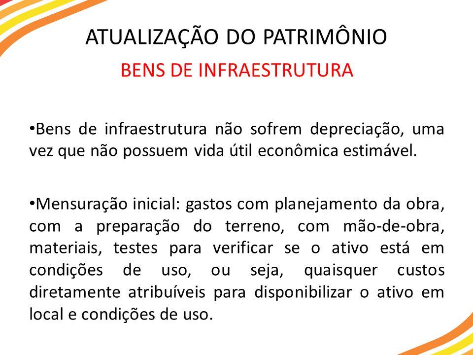 BENS DE INFRAESTRUTURA Bens de infraestrutura não sofrem depreciação, uma vez que não possuem vida útil econômica estimável. Mensuração inicial: gasto