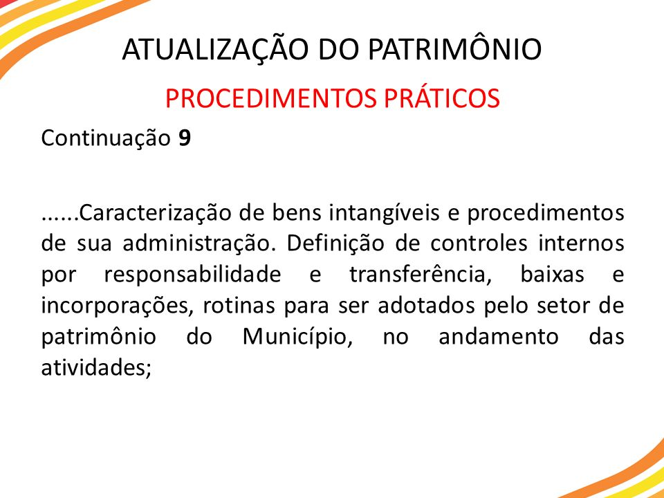 PROCEDIMENTOS PRÁTICOS Continuação 9......Caracterização de bens intangíveis e procedimentos de sua administração. Definição de controles internos por