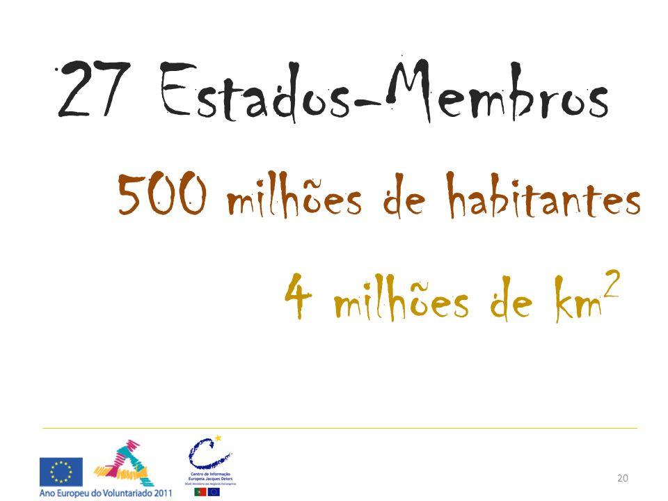 20 27 Estados-Membros 500 milhões de habitantes 4 milhões de km 2