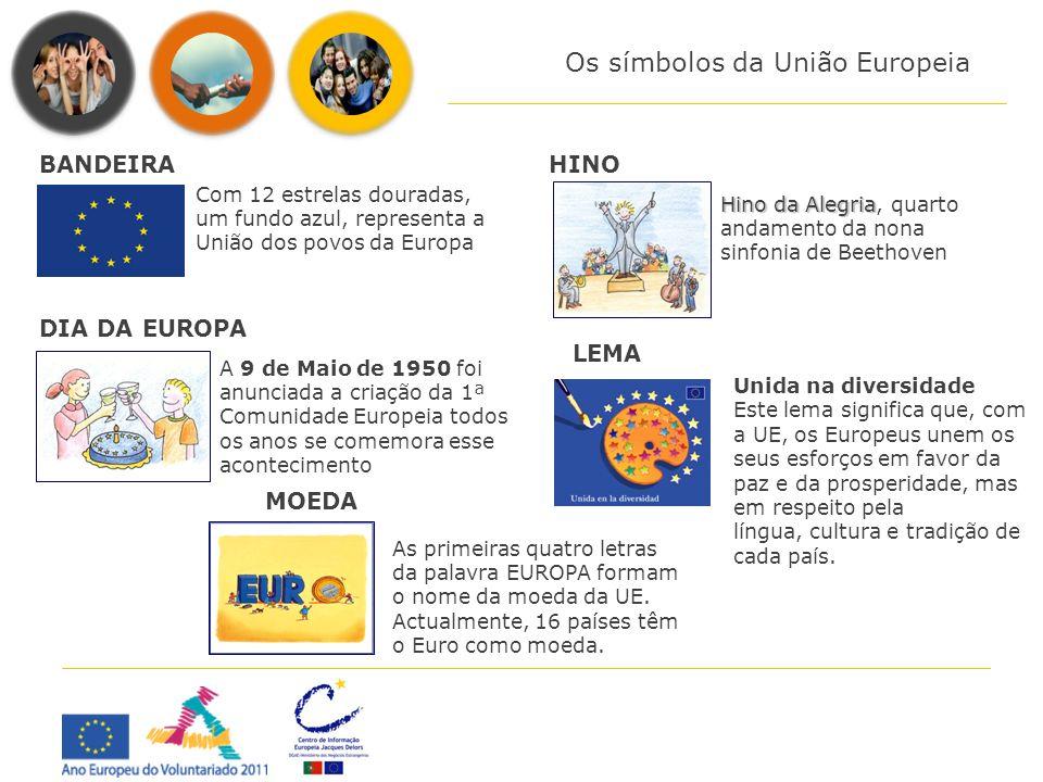 Os símbolos da União Europeia Com 12 estrelas douradas, um fundo azul, representa a União dos povos da Europa BANDEIRA Hino da Alegria Hino da Alegria