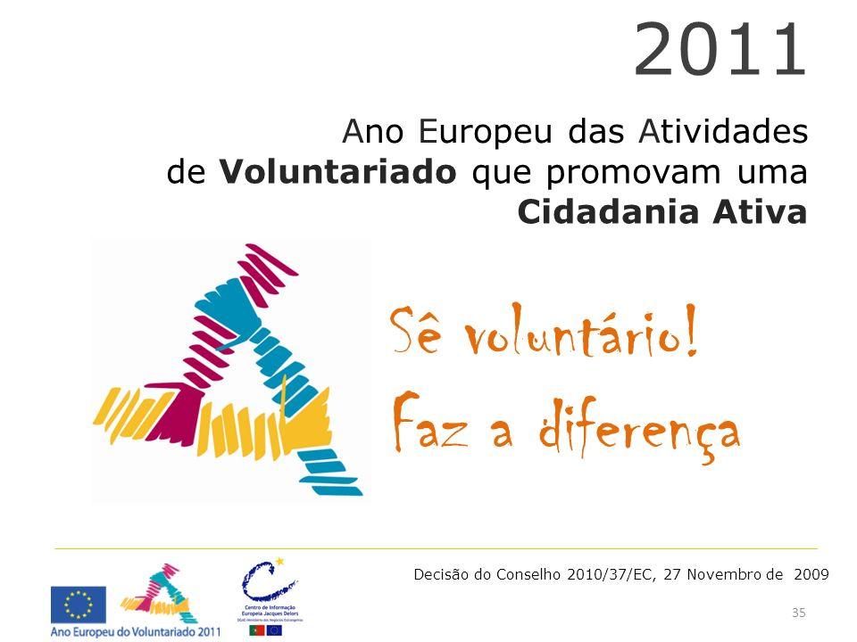 35 Ano Europeu das Atividades de Voluntariado que promovam uma Cidadania Ativa 2011 Decisão do Conselho 2010/37/EC, 27 Novembro de 2009 Sê voluntário!