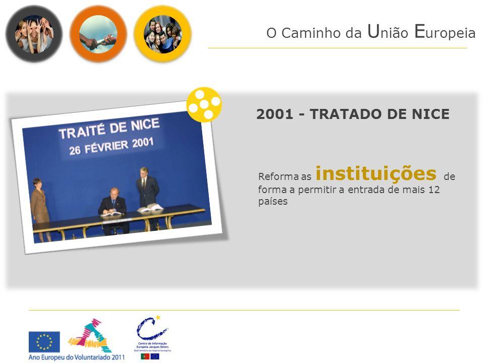 O Caminho da U nião E uropeia 2001 - TRATADO DE NICE Reforma as instituições de forma a permitir a entrada de mais 12 países