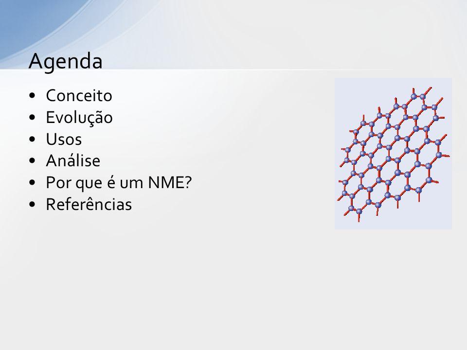 Composto de carbono Lâminas com um átomo de espessura 10 vezes mais resistente que o aço Abundante na natureza e já sintetizado em laboratório Nobel de Física de 2010 a Andre Geim e Konstantin Novoselov (Univ Manchester) Grafeno