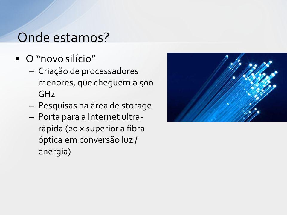 O novo silício –Criação de processadores menores, que cheguem a 500 GHz –Pesquisas na área de storage –Porta para a Internet ultra- rápida (20 x super
