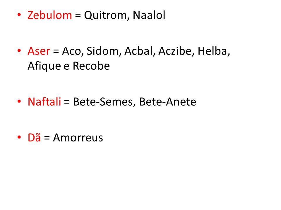 Zebulom = Quitrom, Naalol Aser = Aco, Sidom, Acbal, Aczibe, Helba, Afique e Recobe Naftali = Bete-Semes, Bete-Anete Dã = Amorreus