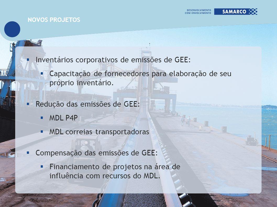 Inventários corporativos de emissões de GEE: Capacitação de fornecedores para elaboração de seu próprio inventário. Redução das emissões de GEE: MDL P