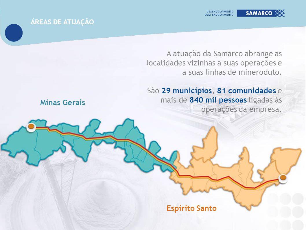 A atuação da Samarco abrange as localidades vizinhas a suas operações e a suas linhas de mineroduto. São 29 municípios, 81 comunidades e mais de 840 m