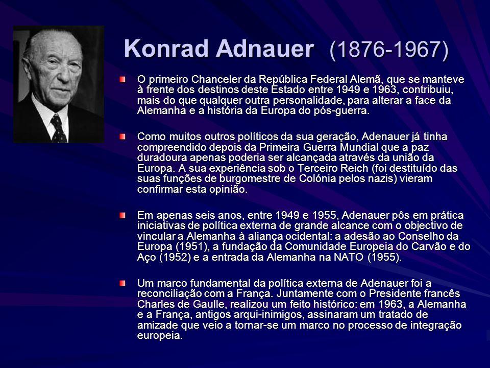 Alcide de Gaspieri (1881-1954) Entre 1945 e 1953, Alcide de Gasperi, na sua qualidade de Primeiro- Ministro e de Ministro dos Negócios Estrangeiros, apontou o caminho das políticas interna e externa da Itália nos anos do pós- guerra.