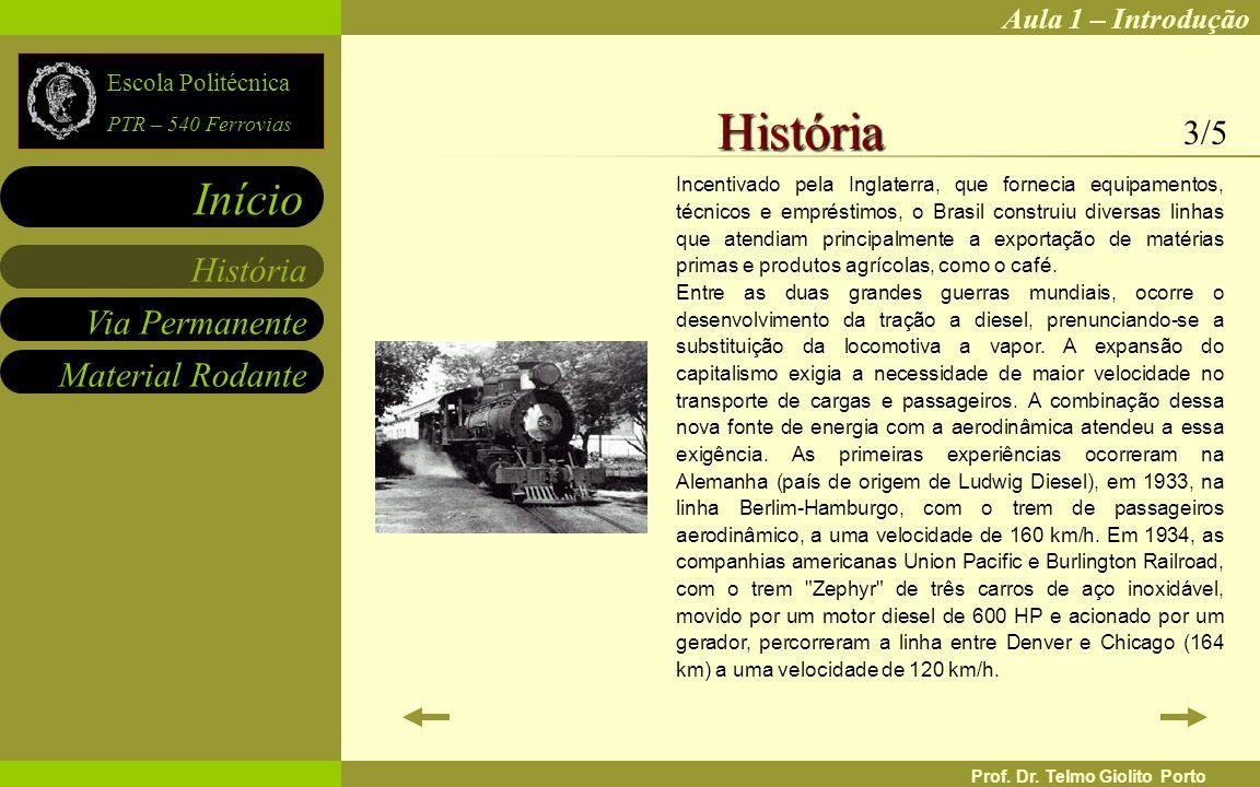 Aula 1 – Introdução Via Permanente Material Rodante História Início Escola Politécnica PTR – 540 Ferrovias Prof. Dr. Telmo Giolito Porto Incentivado p