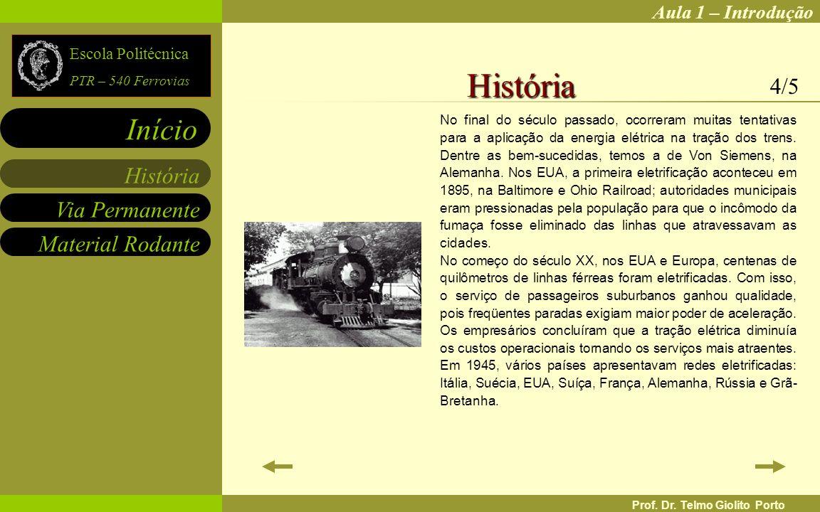 Aula 1 – Introdução Via Permanente Material Rodante História Início Escola Politécnica PTR – 540 Ferrovias Prof. Dr. Telmo Giolito Porto No final do s