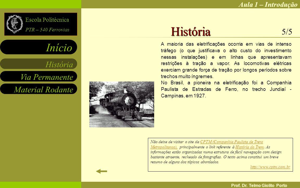 Aula 1 – Introdução Via Permanente Material Rodante História Início Escola Politécnica PTR – 540 Ferrovias Prof. Dr. Telmo Giolito Porto A maioria das