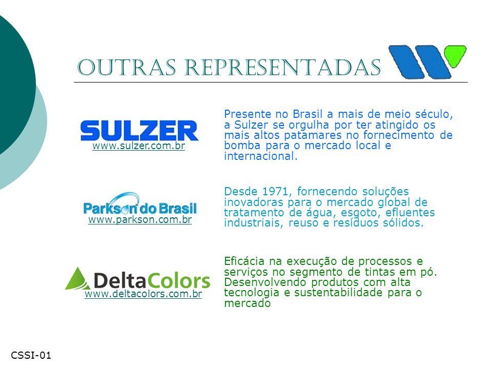 Outras Representadas Presente no Brasil a mais de meio século, a Sulzer se orgulha por ter atingido os mais altos patamares no fornecimento de bomba p
