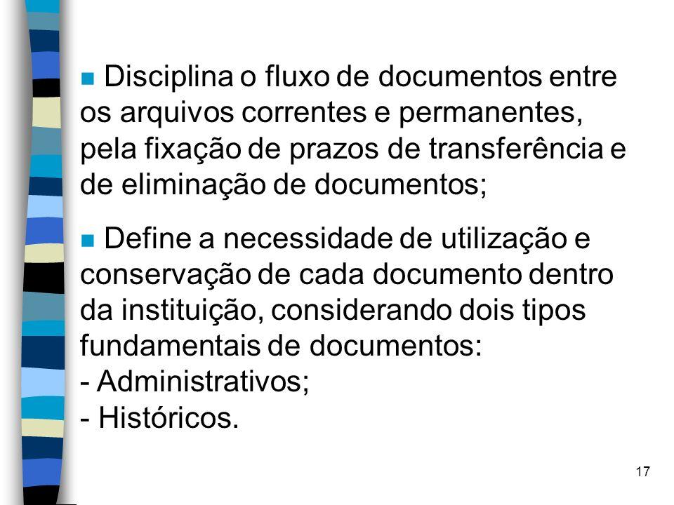 16 TABELA DE TEMPORALIDADE DOCUMENTAL n É o registro esquemático do ciclo de vida documental do Órgão, sendo elaborada após análise da documentação e