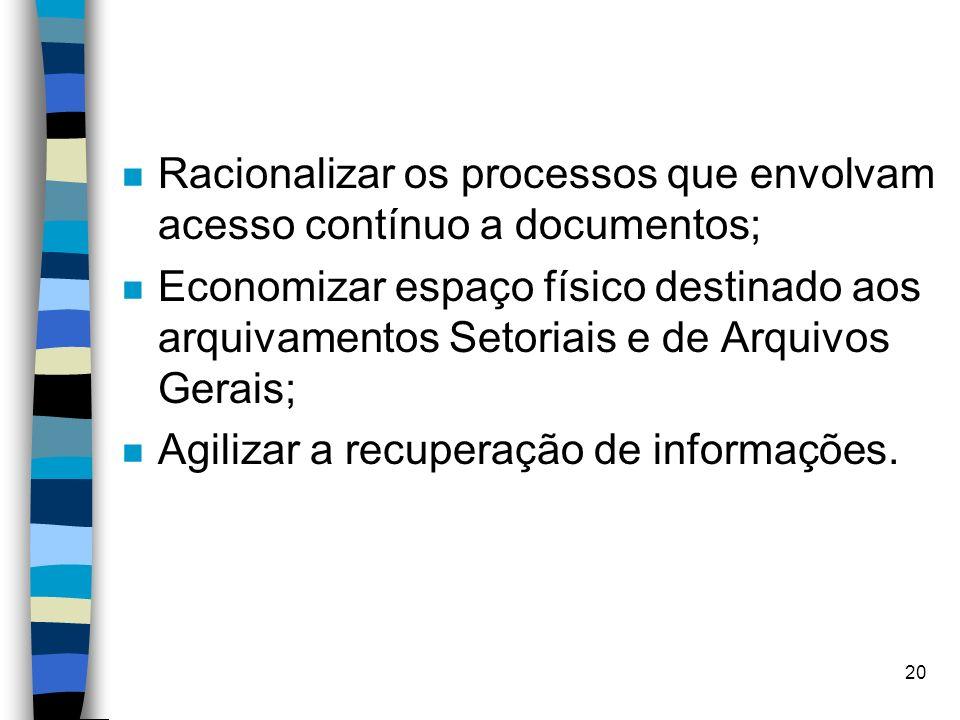 19 OBJETIVOS E BENEFÍCIOS n Assegurar de forma eficiente a produção, administração, manutenção e destinação dos documentos; n Assegurar a eliminação d