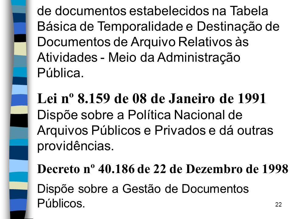 21 REFERÊNCIAS n Resolução Nº 4, de 28 de março de 1996 Dispõe sobre o Código de Classificação de Documentos de Arquivo para Administração Pública: At