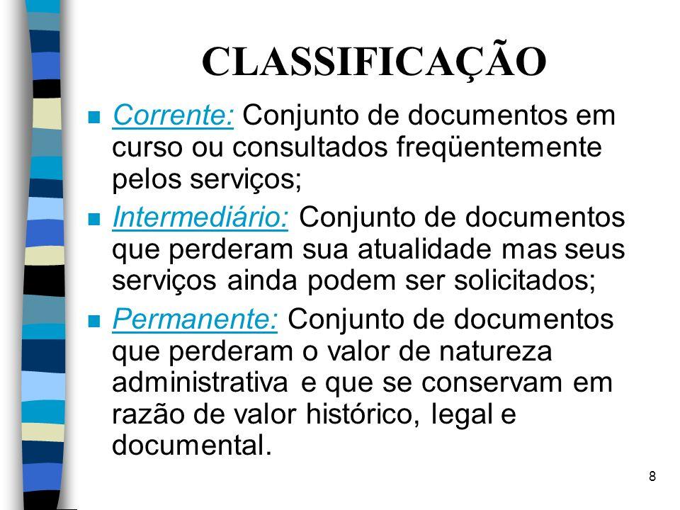 7 n Documento: É a peça escrita ou impressa que oferece prova ou informação sobre um assunto qualquer. n Documentação: É o conjunto de documentos refe