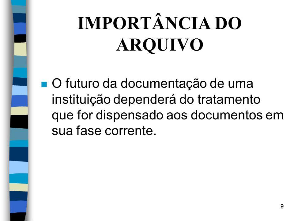 9 IMPORTÂNCIA DO ARQUIVO n O futuro da documentação de uma instituição dependerá do tratamento que for dispensado aos documentos em sua fase corrente.