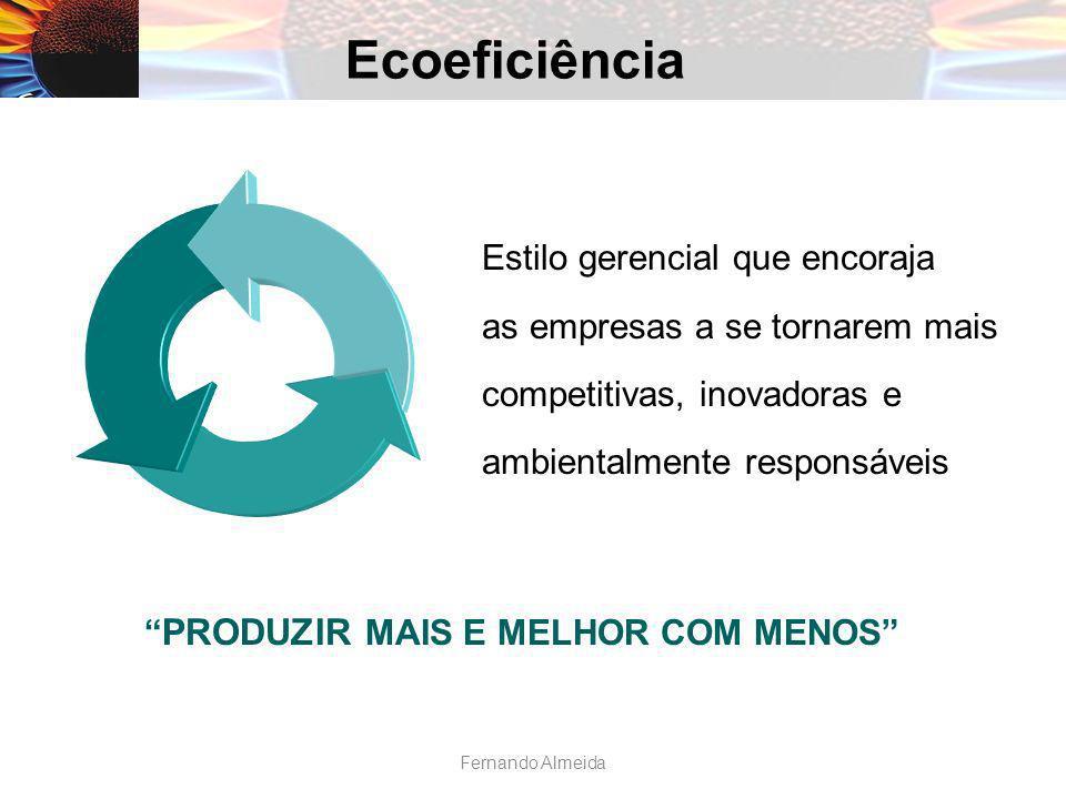 Estilo gerencial que encoraja as empresas a se tornarem mais competitivas, inovadoras e ambientalmente responsáveis PRODUZIR MAIS E MELHOR COM MENOS Ecoeficiência Fernando Almeida