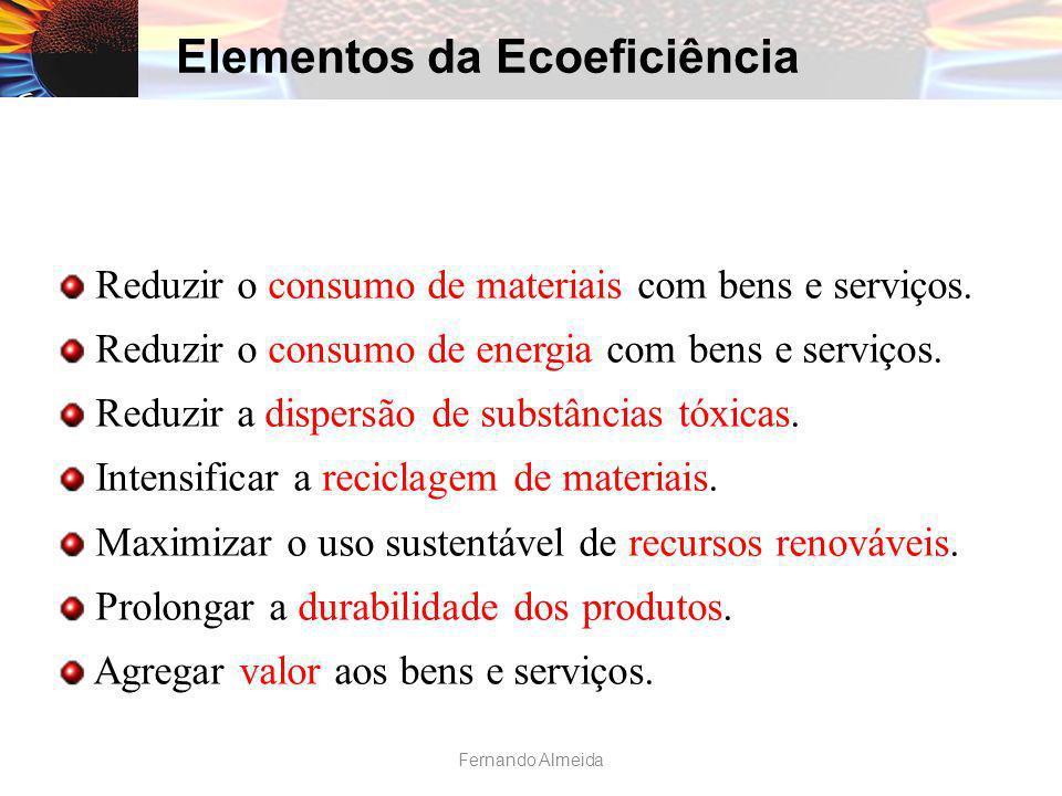 Reduzir o consumo de materiais com bens e serviços. Reduzir o consumo de energia com bens e serviços. Reduzir a dispersão de substâncias tóxicas. Inte