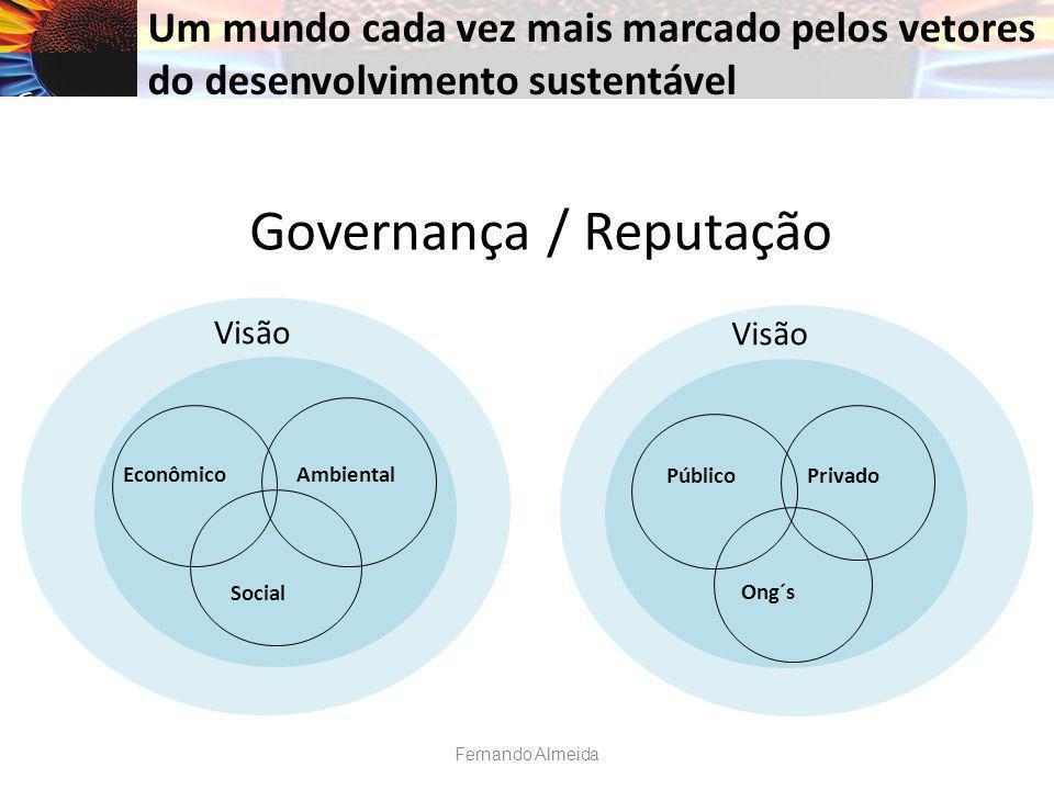 Governança / Reputação Social EconômicoAmbiental Um mundo cada vez mais marcado pelos vetores do desenvolvimento sustentável Visão Ong´s PúblicoPrivado Visão Fernando Almeida