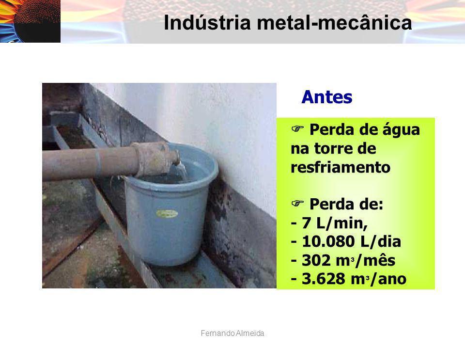 Indústria metal-mecânica Antes Perda de água na torre de resfriamento Perda de: - 7 L/min, - 10.080 L/dia - 302 m ³ /mês - 3.628 m ³ /ano Fernando Alm