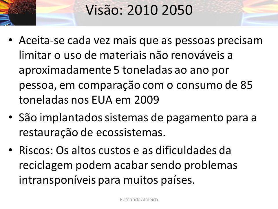 Visão: 2010 2050 Aceita-se cada vez mais que as pessoas precisam limitar o uso de materiais não renováveis a aproximadamente 5 toneladas ao ano por pe